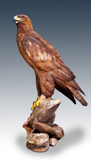 Genghis life-size Russian Berkut Golden Eagle carving by Floyd Scholz